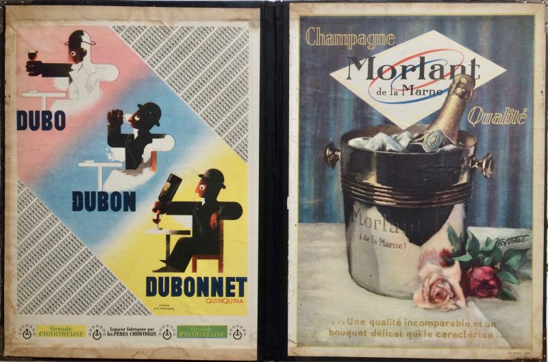 Folder with dubonnet and morlant champagne posters