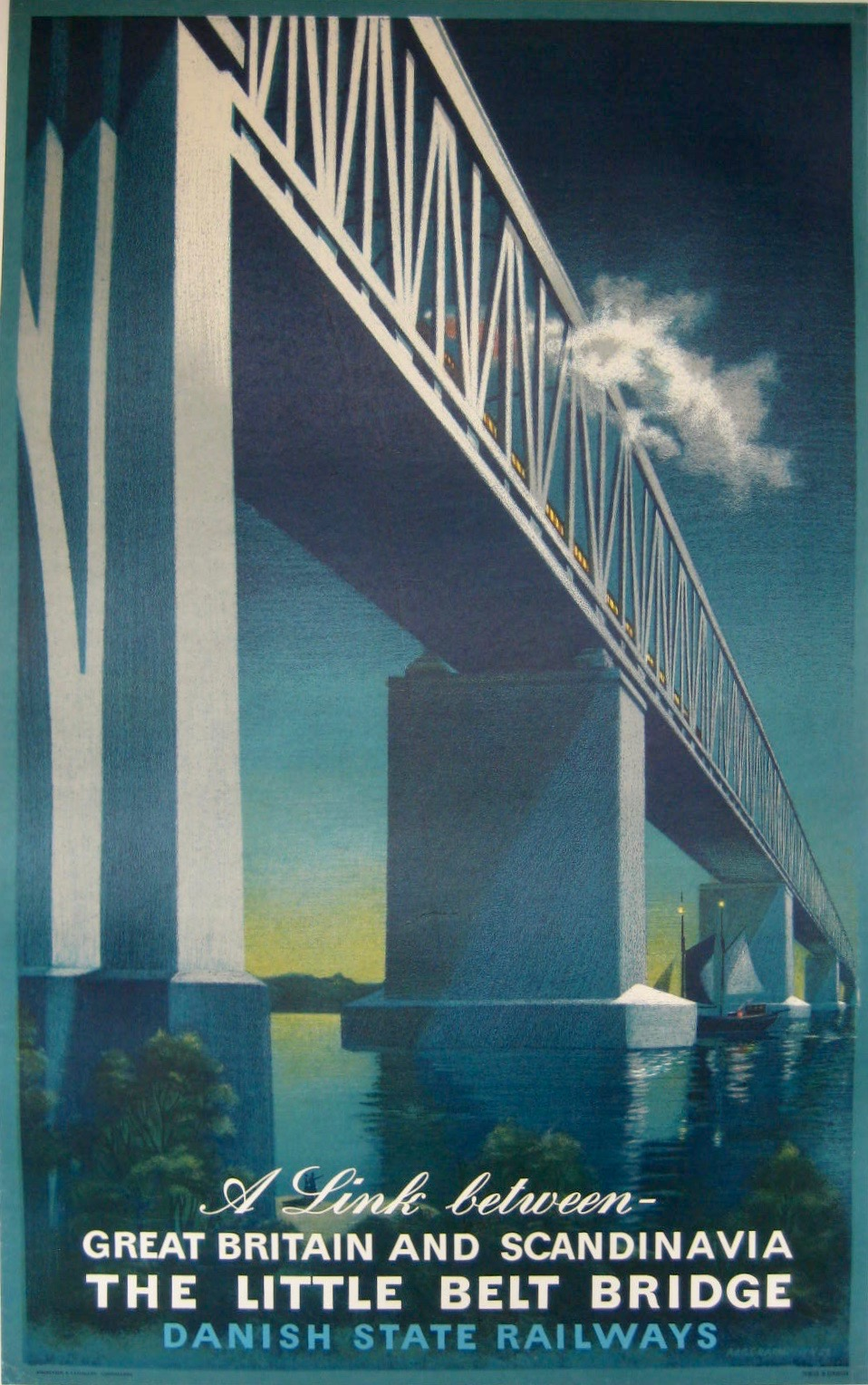 Dansih State Railways poster for Little Belt Bridge