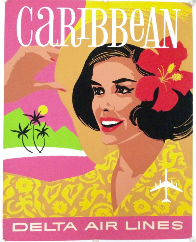 Caribbean Delta Airlines, girl with flower in her hair by John Hardy