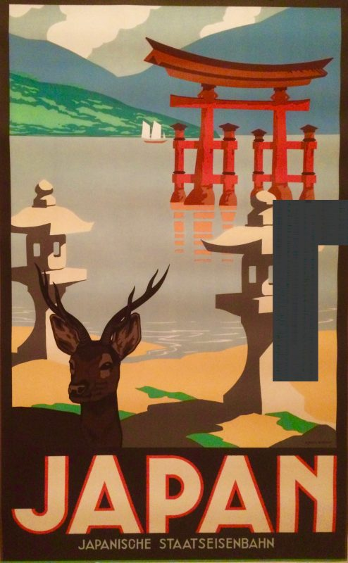 Japanese styised poster showing a temple, a deer temple, a deer