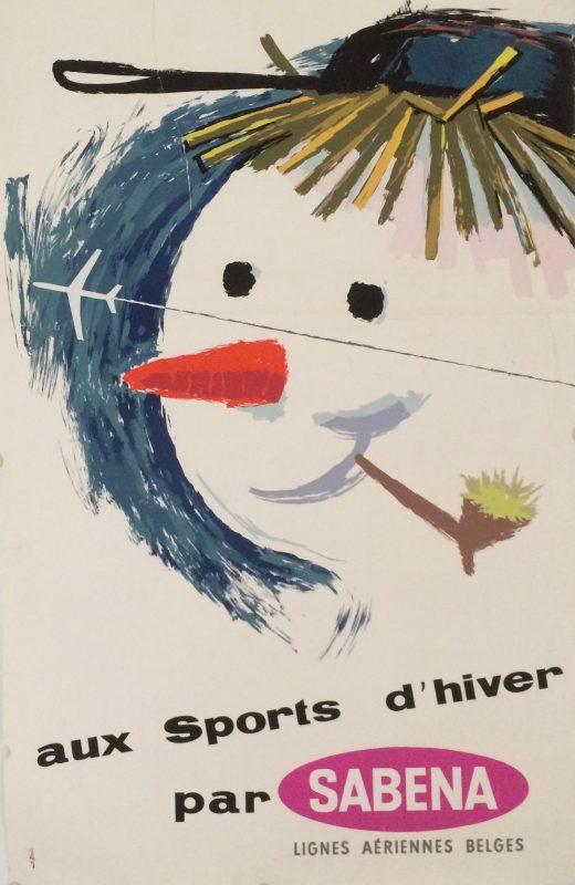 A snowman smoking a pipe, a silhouette of a Sabena plane in the distance ena plane flies