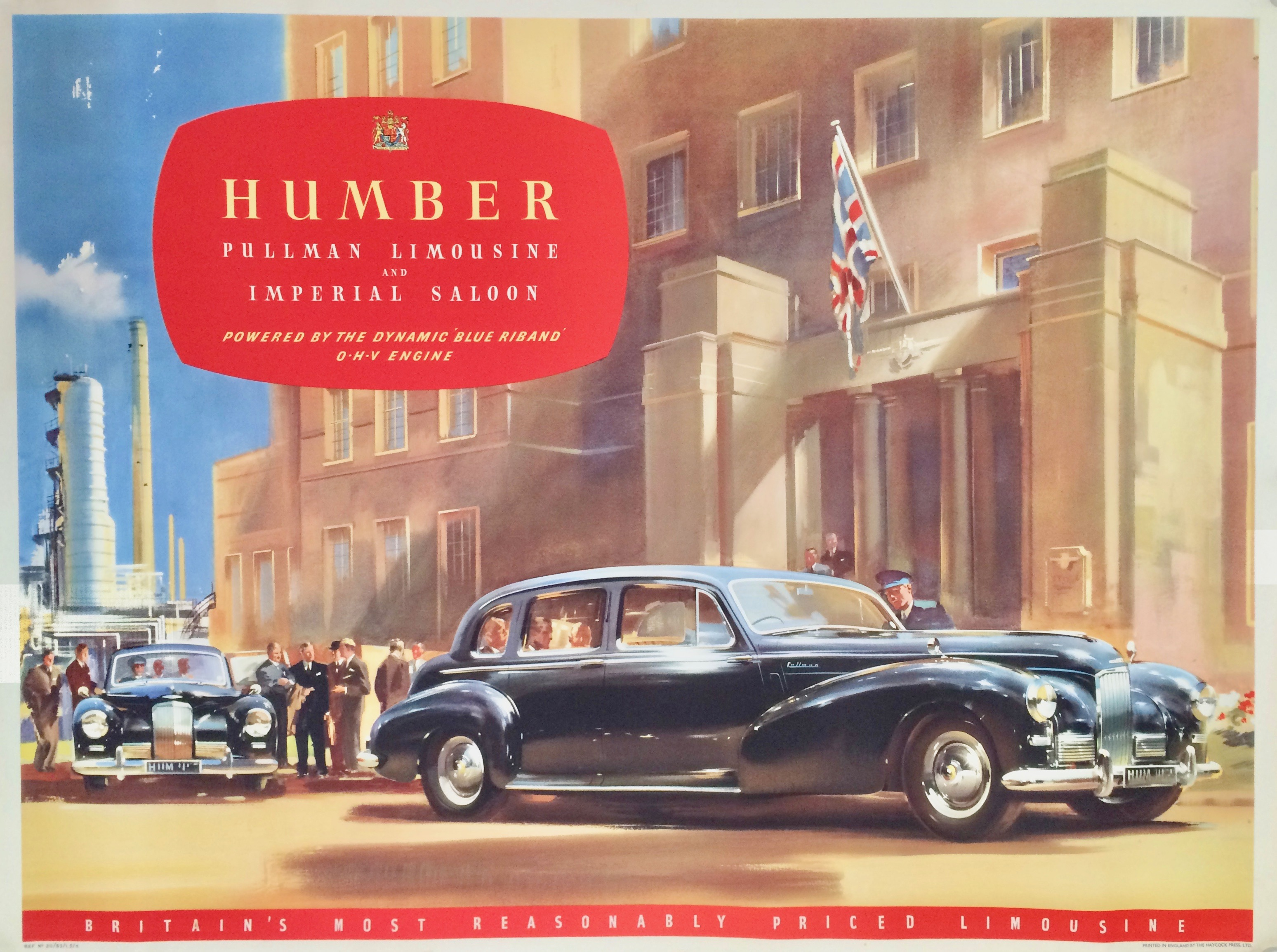 Humber Pullman car parked in front of a building with union jack flying.