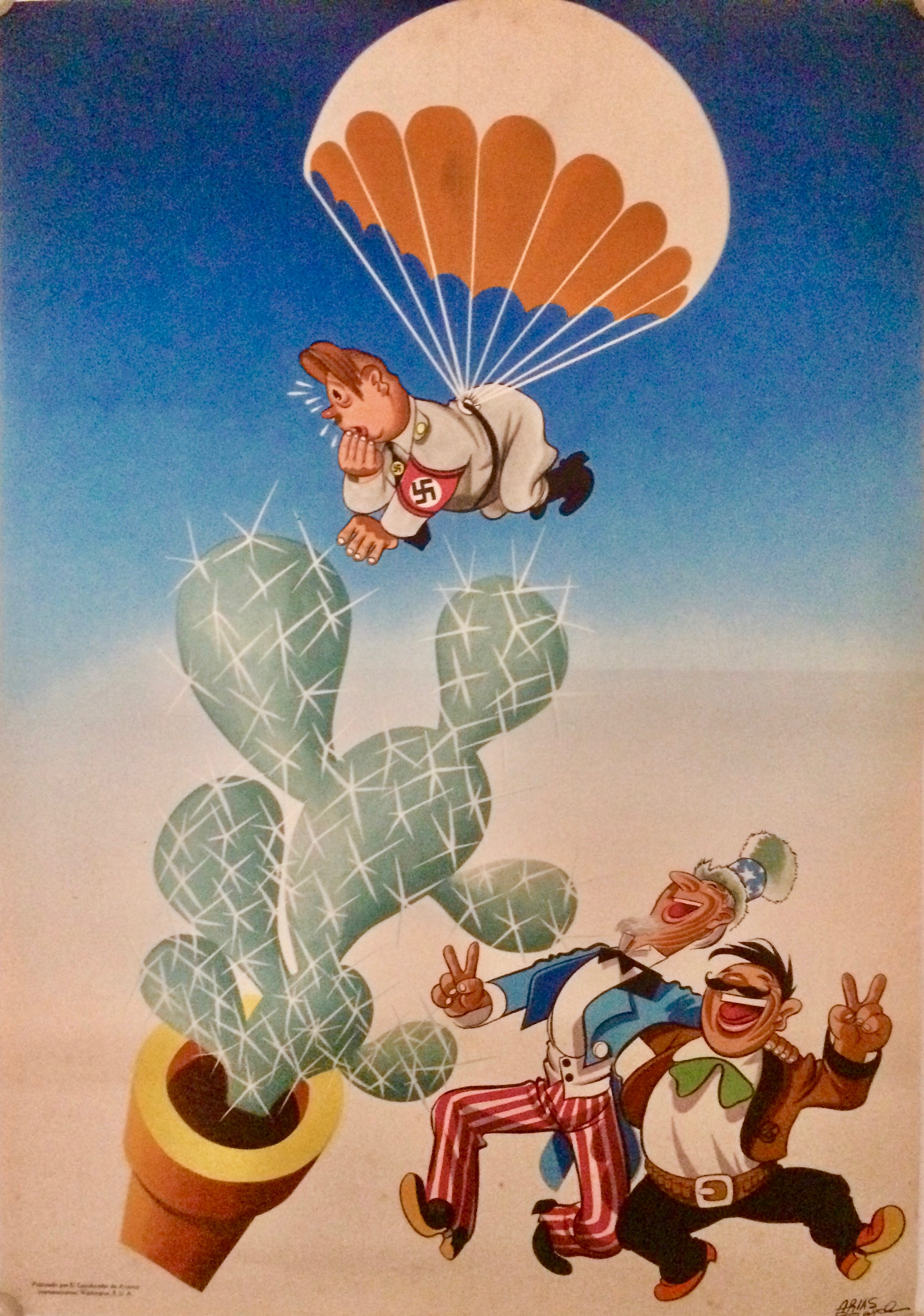 Nazi parachuting into a cactus watched by Uncle Sam & Mexican