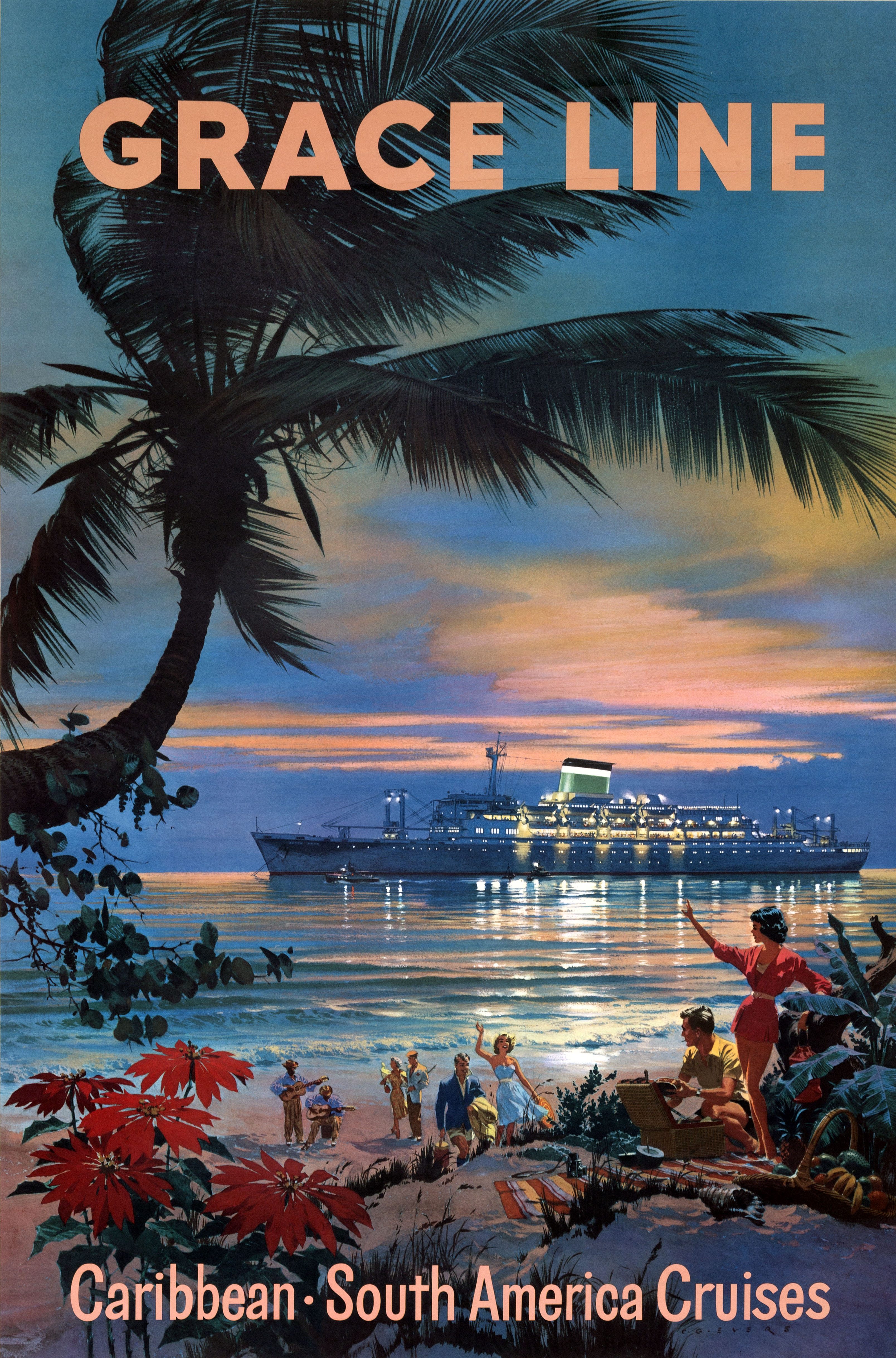 People on beach looking at cruise ship at sea