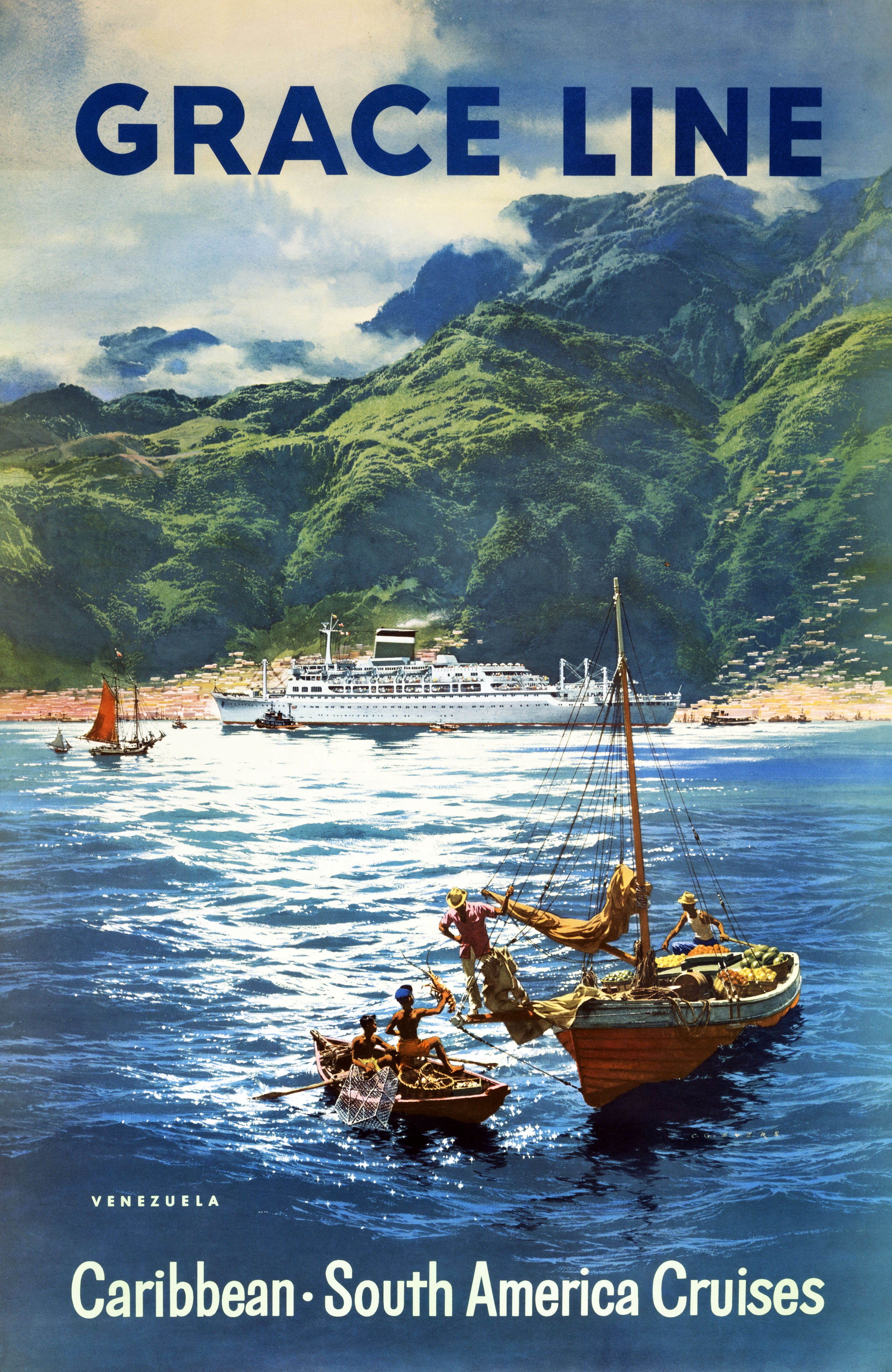 Grace Line cruise ship docks in tropics