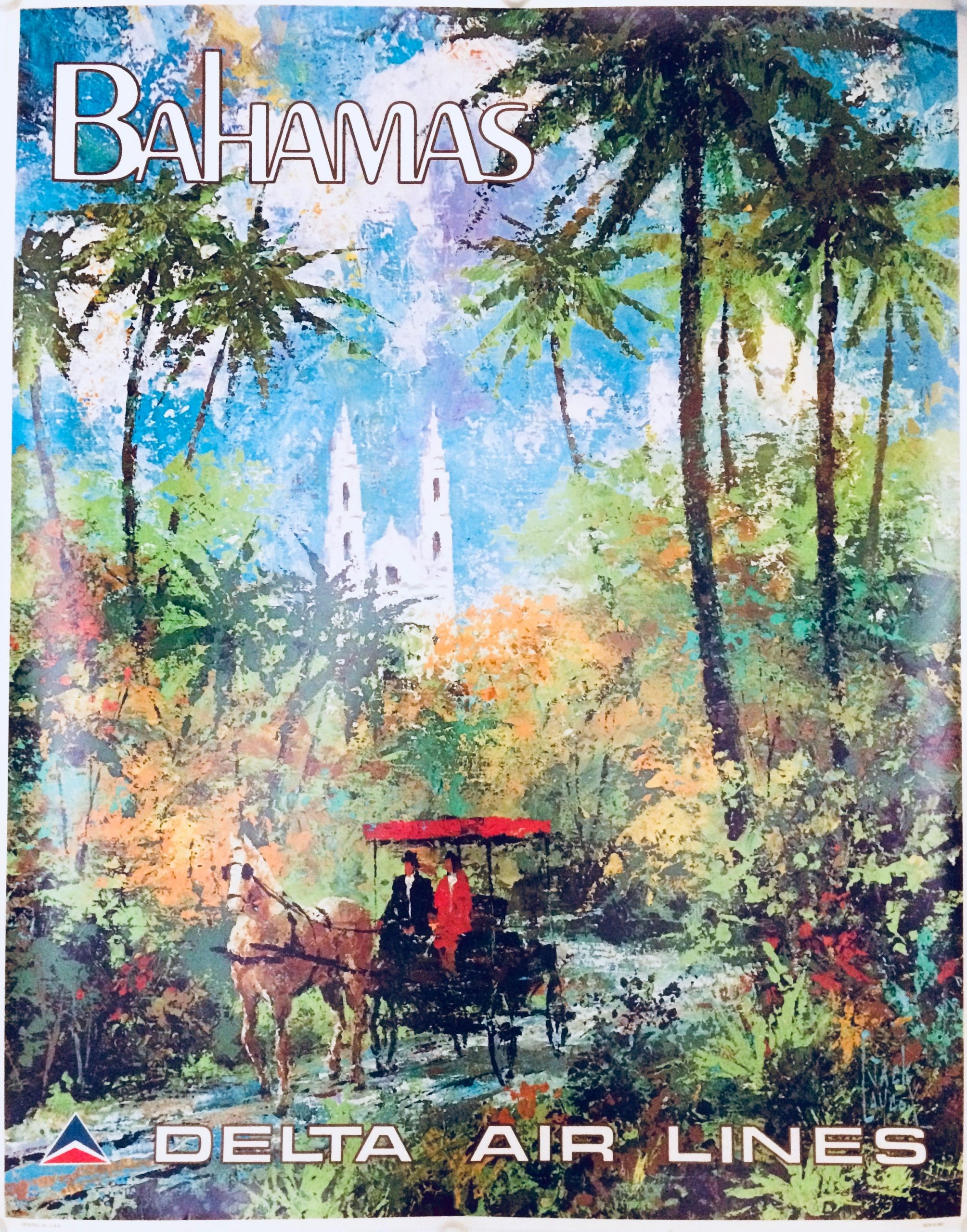 airline poster for Delta to the Bahamas