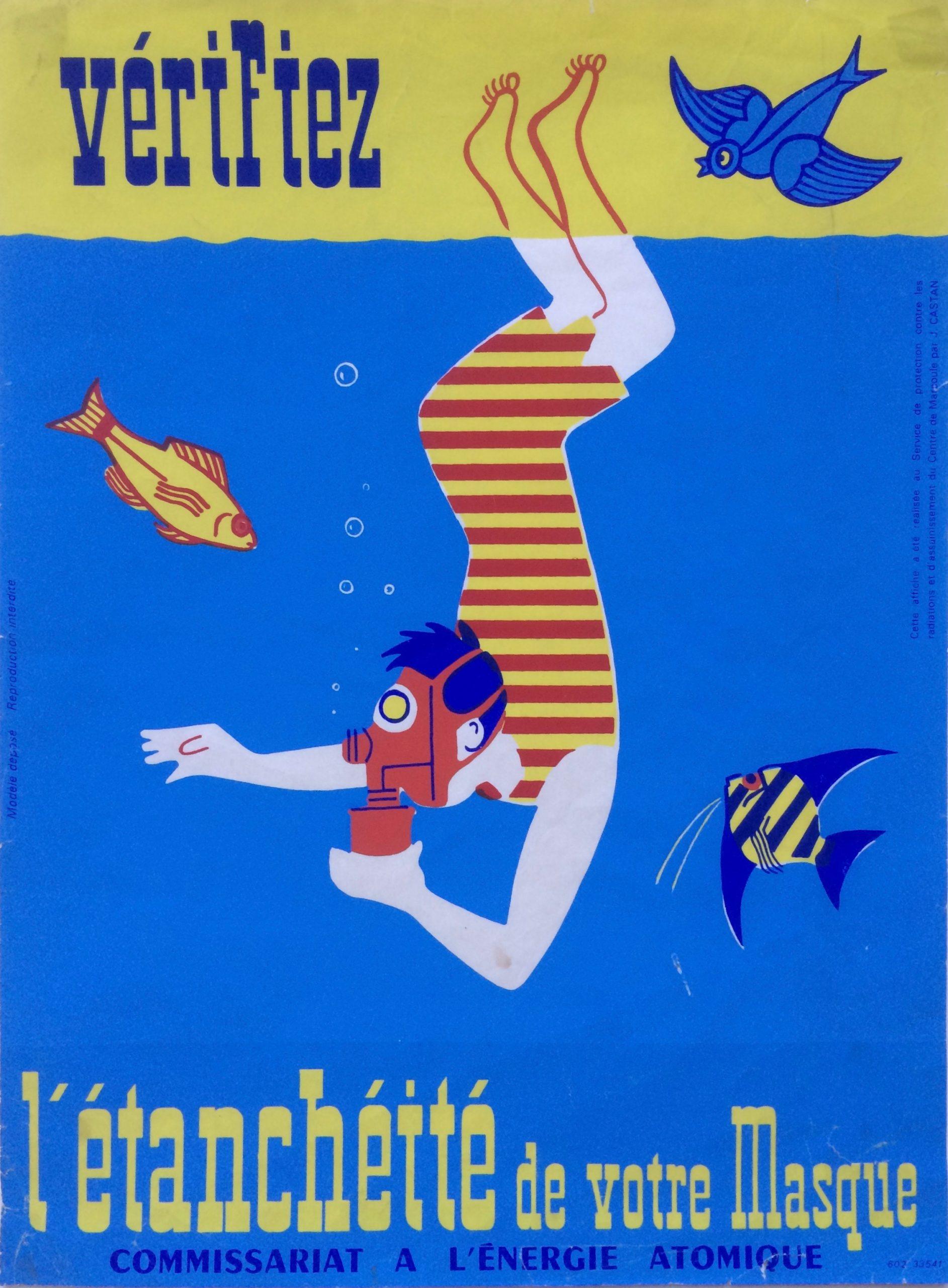 Vintage Poster of Scuba diver