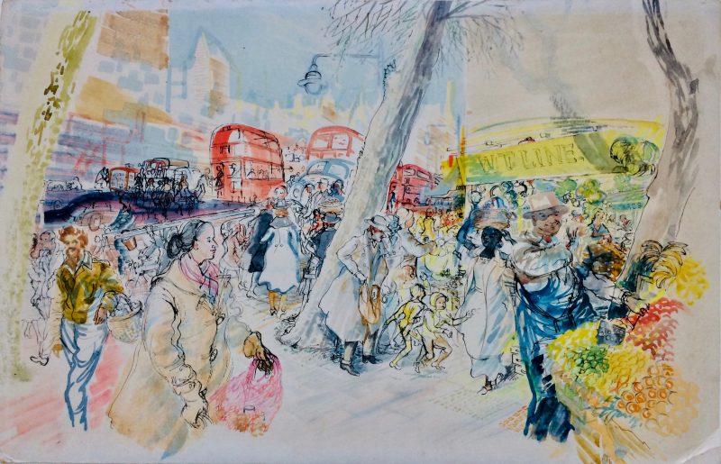 watercolour london market scene