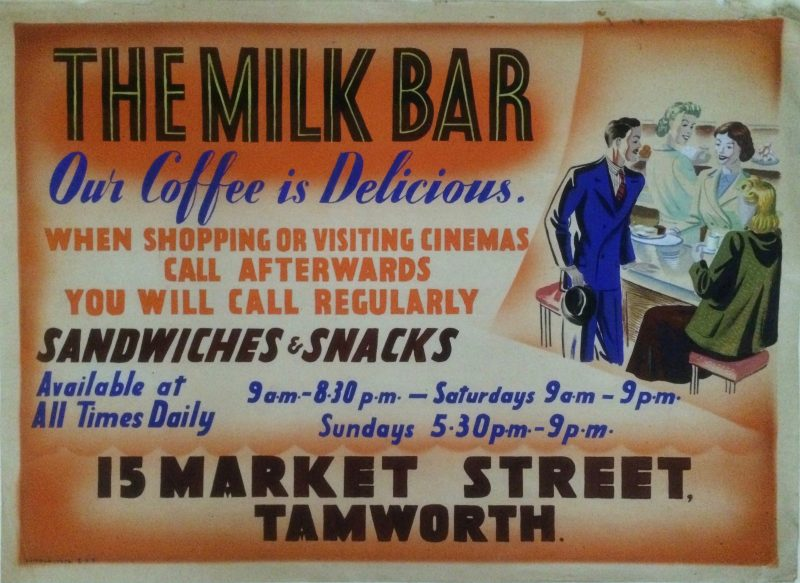 Artwork for ad. for Milk Bar in Tamworth