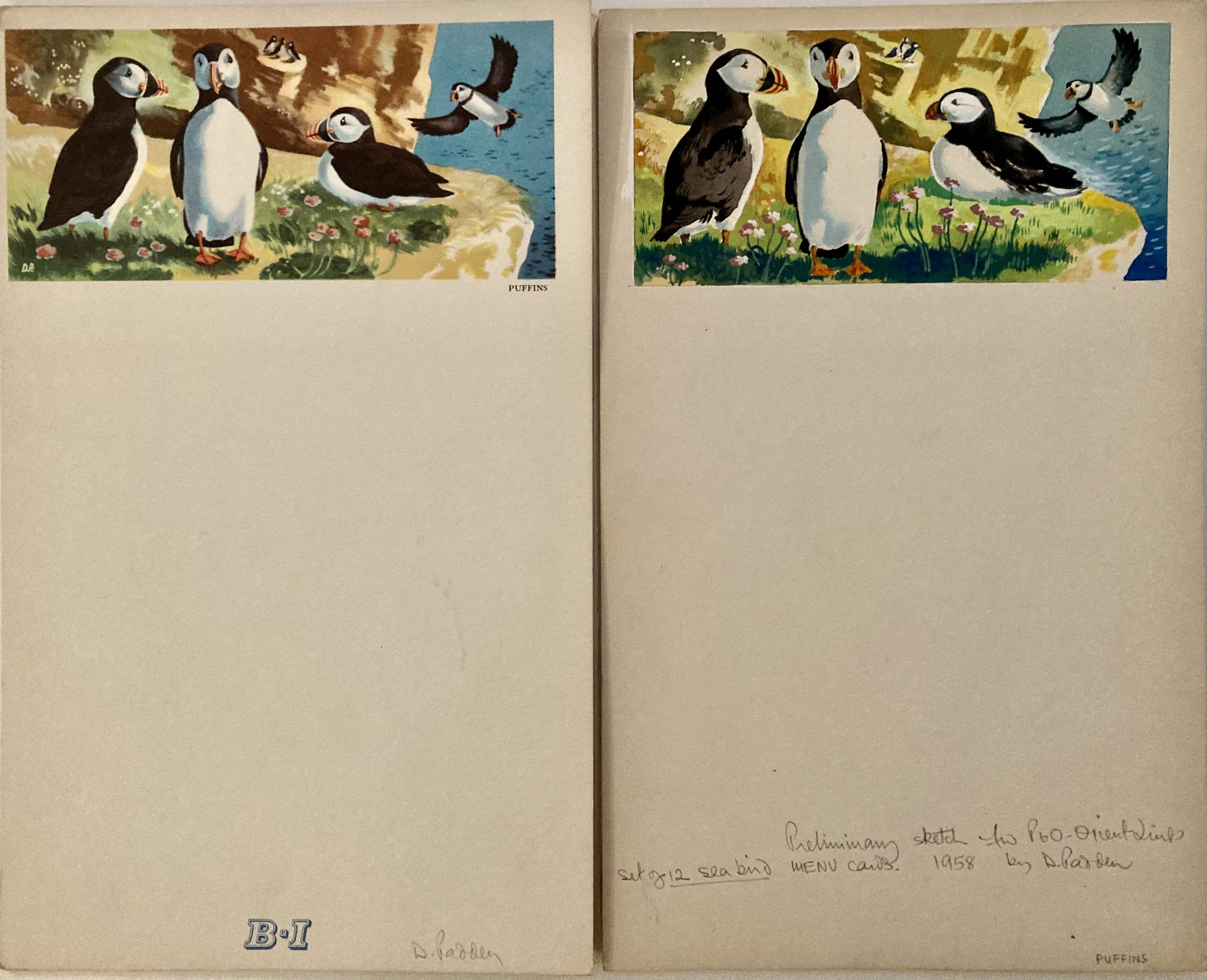 original artwork for menu puffins