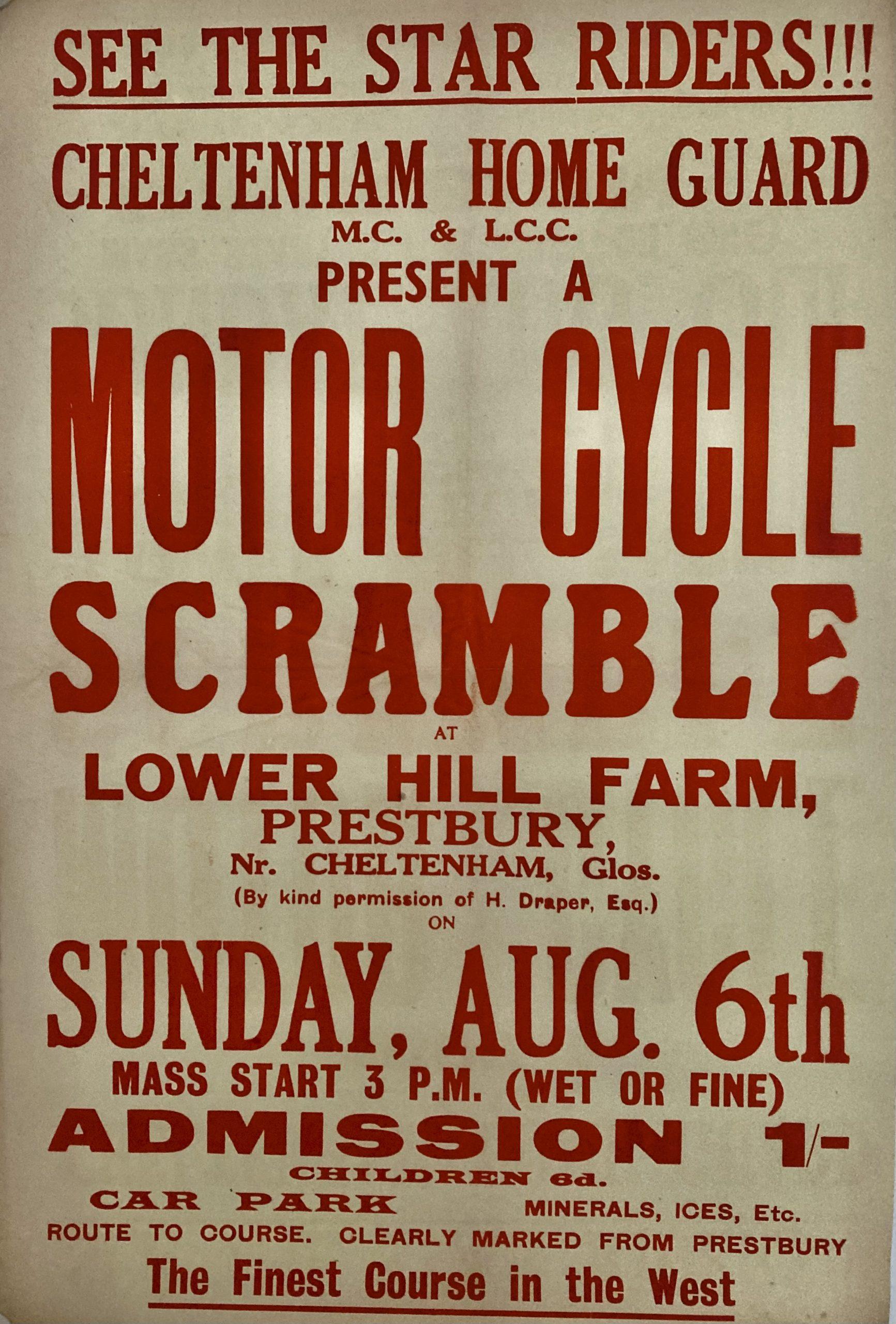 letterpress poster motor cycle scramble Lower Hill Farm