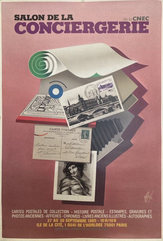 poster for postcard fair in Paris 1985