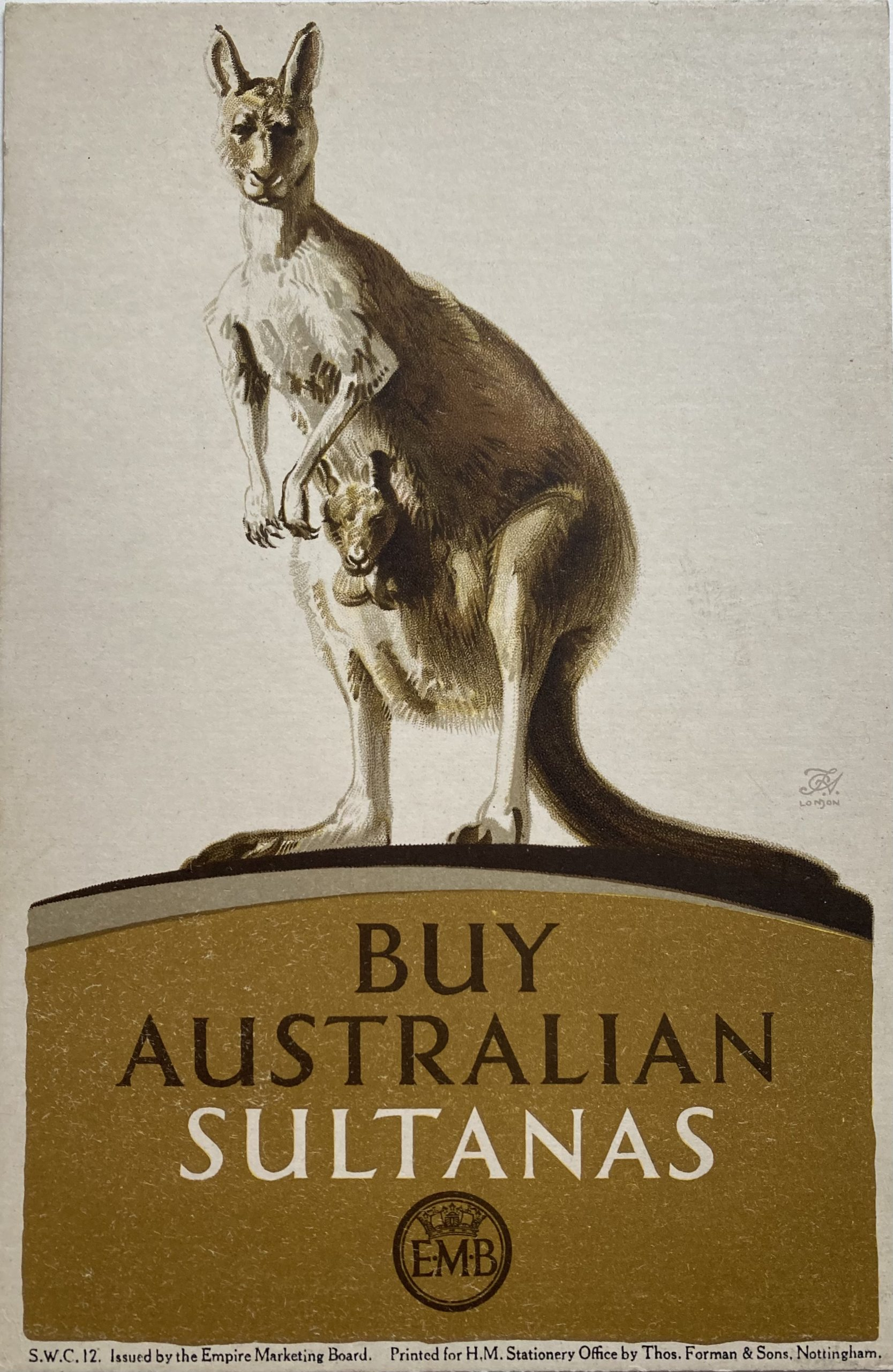 Advertising small card poster for Australian Sultanas