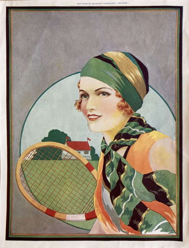 girl with tennis racket label
